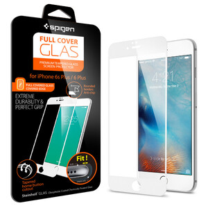 Защитное стекло Spigen Full Cover Glass White для iPhone 6/6s Plus