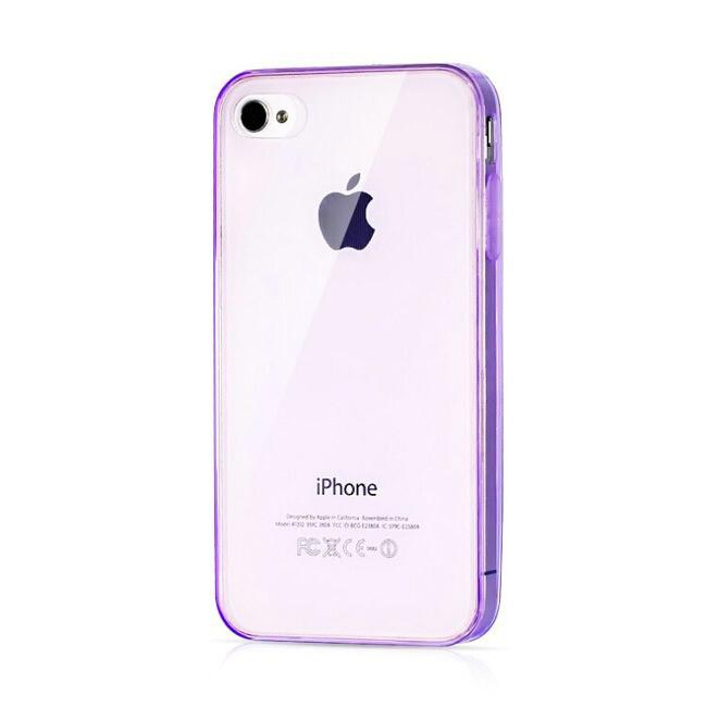 Прозрачный TPU чехол Silicol Violet 0.29mm для iPhone 4/4S