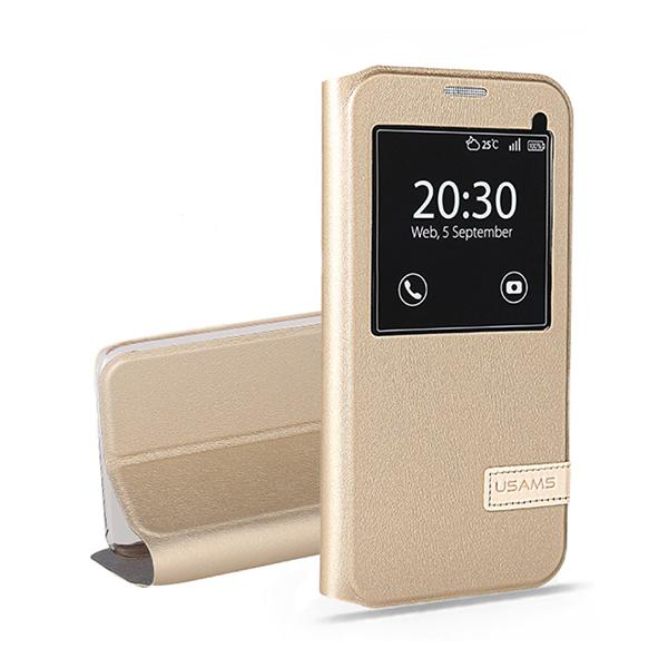Чехол-подставка USAMS Muge Series Gold для Samsung Galaxy S7