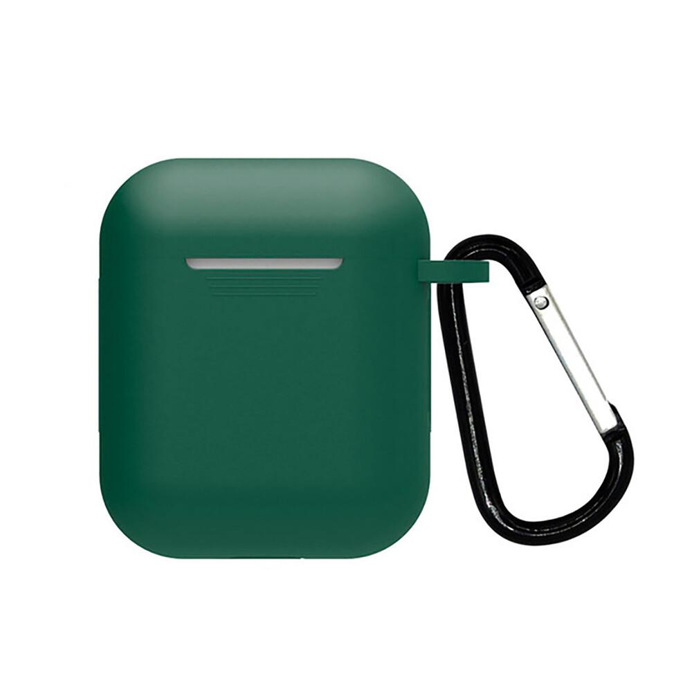 Силиконовый чехол с карабином oneLounge TPU Case Forest Green для AirPods 2 | 1