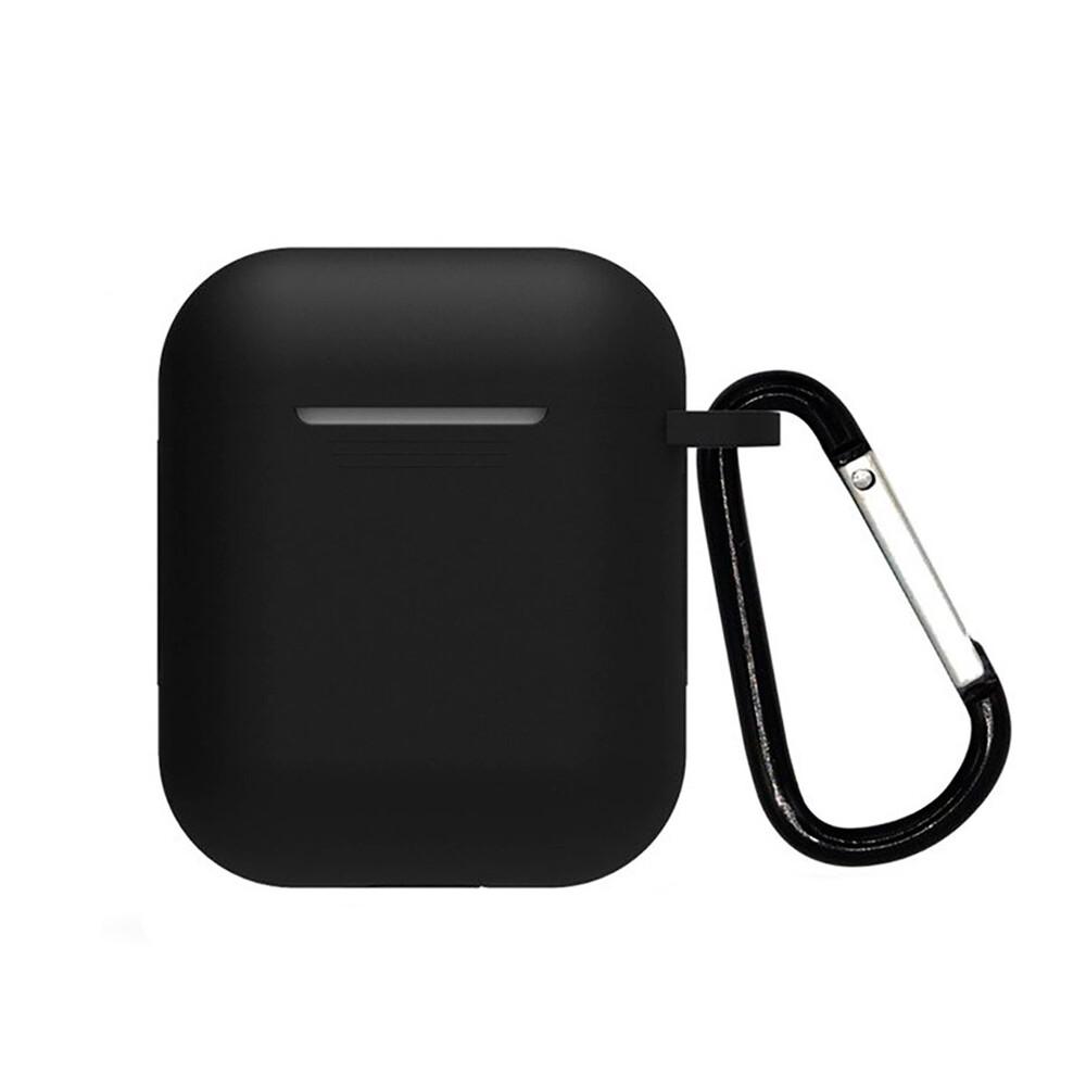 Силиконовый чехол с карабином iLoungeMax TPU Case Black для AirPods 2 | 1