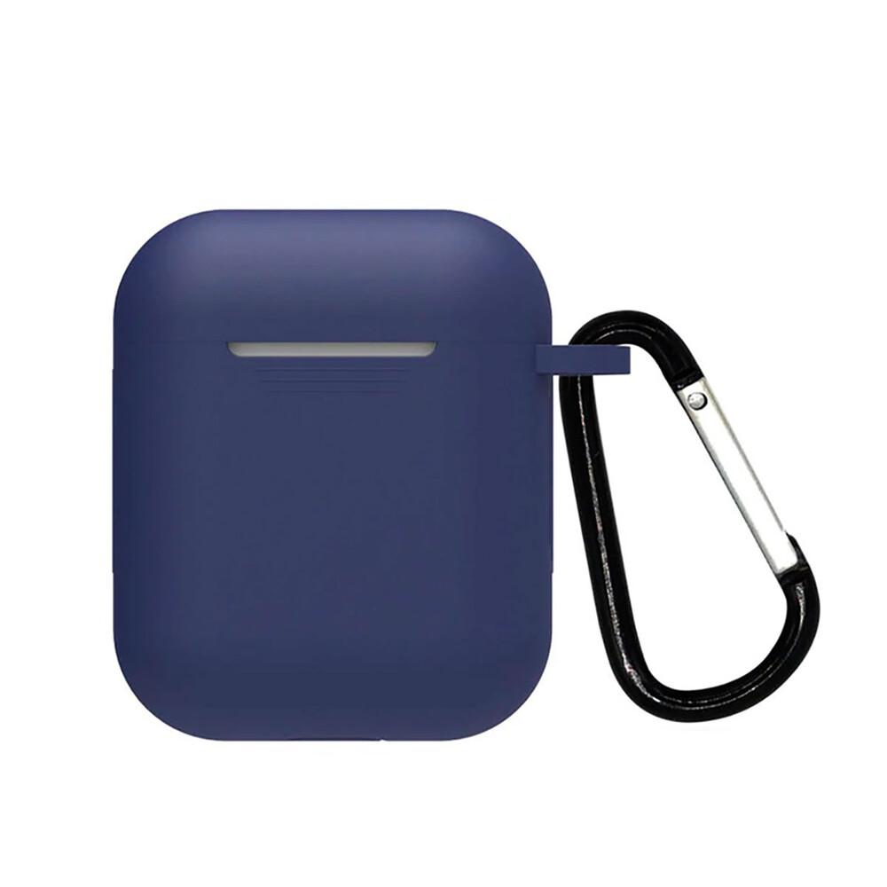 Силиконовый чехол с карабином iLoungeMax TPU Case Navy Blue для AirPods 2 | 1