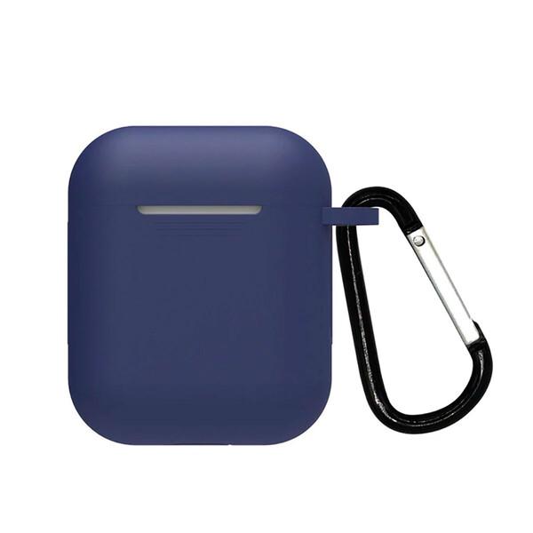 Силиконовый чехол с карабином iLoungeMax TPU Case Navy Blue для AirPods 2   1