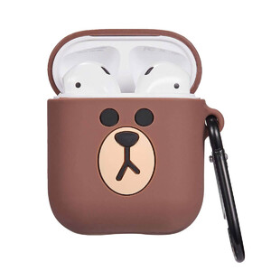 Купить Мультяшный силиконовый чехол для AirPods с карабином oneLounge Bear Коричневый