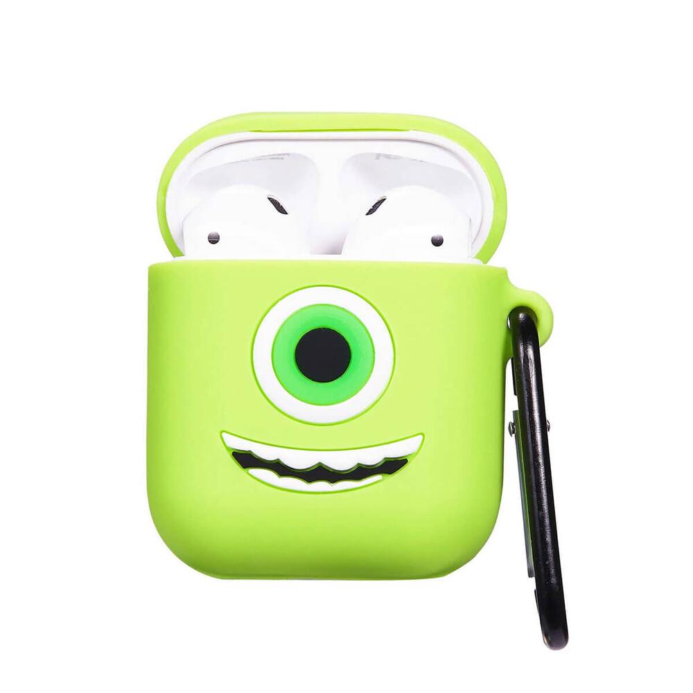 Мультяшный силиконовый чехол для AirPods с карабином iLoungeMax Big Eyes Monsters Зеленый