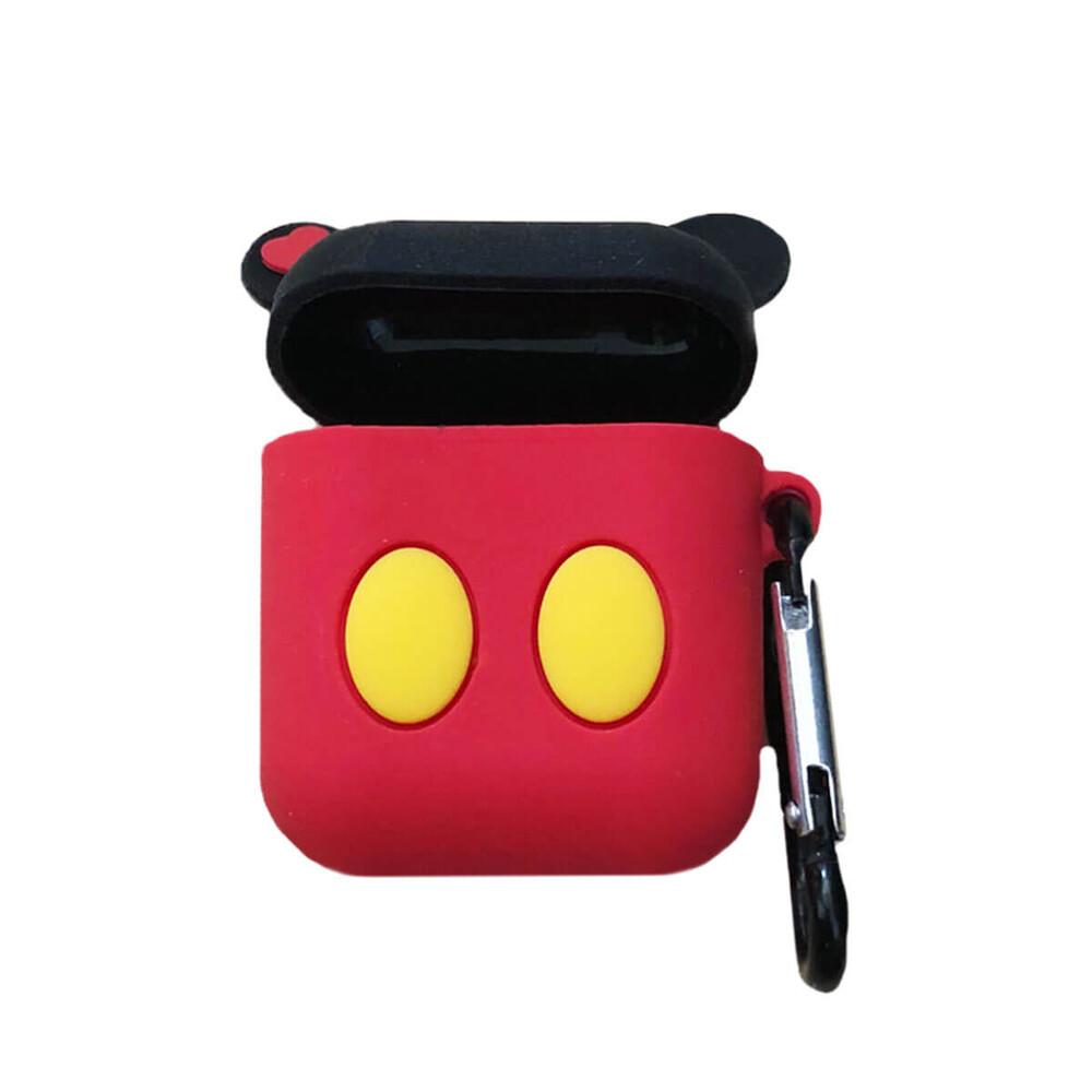 Мультяшный силиконовый чехол для AirPods с карабином iLoungeMax Mickey Mouse Черный