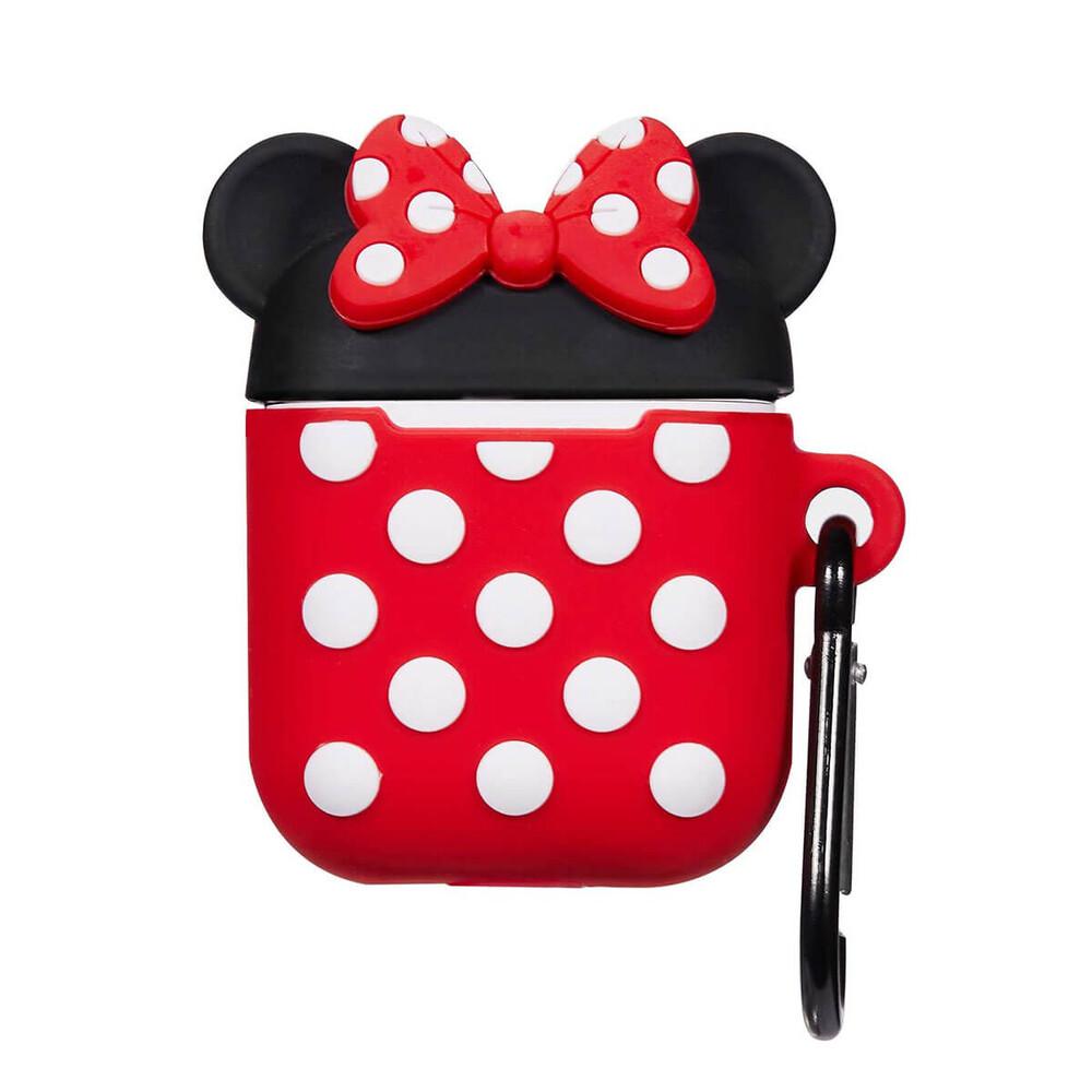 Мультяшный силиконовый чехол для AirPods с карабином iLoungeMax Minnie Mouse Красный