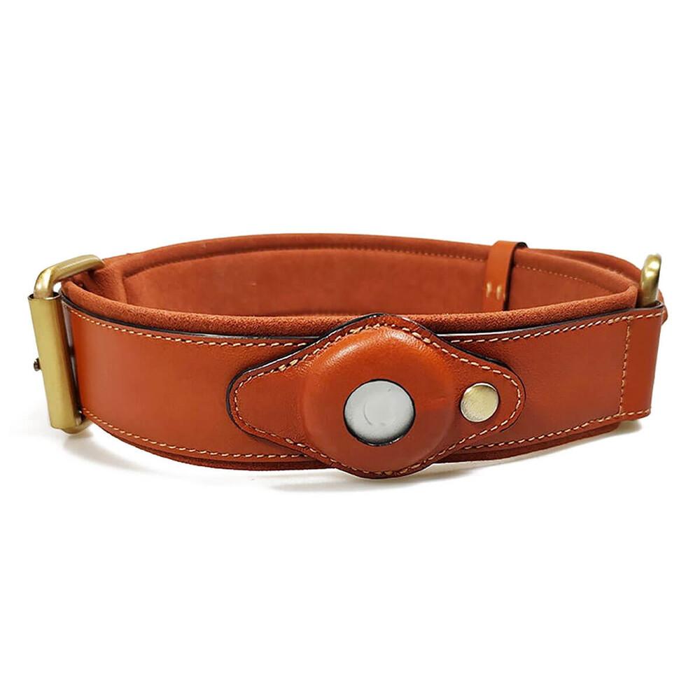 Ошейник для собак с держателем для AirTag iLoungeMax Leather AirTag Dog Collar размер 41 – 58 × 4 см