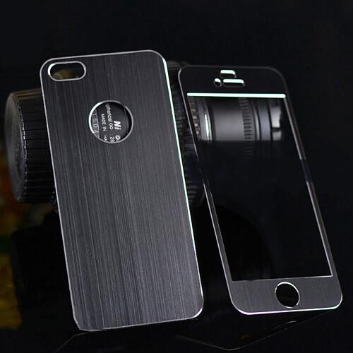 Металлическая накладка Aluminium Sticker Black для iPhone 5/5S/SE