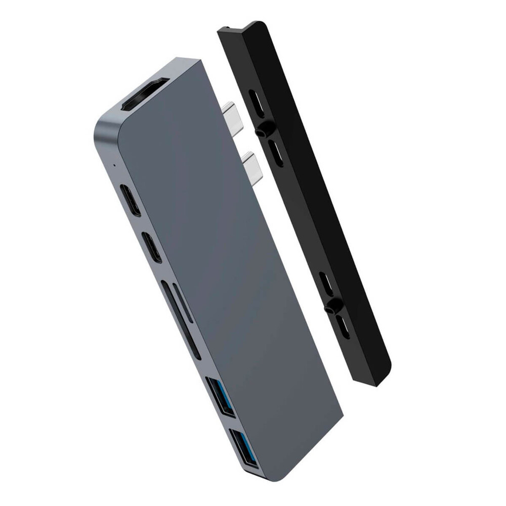 Хаб (адаптер) HyperDrive DUO 7-in-2 Thunderbolt 3 USB-C Hub 4K 60Hz HDMI для MacBook Pro   Air Space Gray