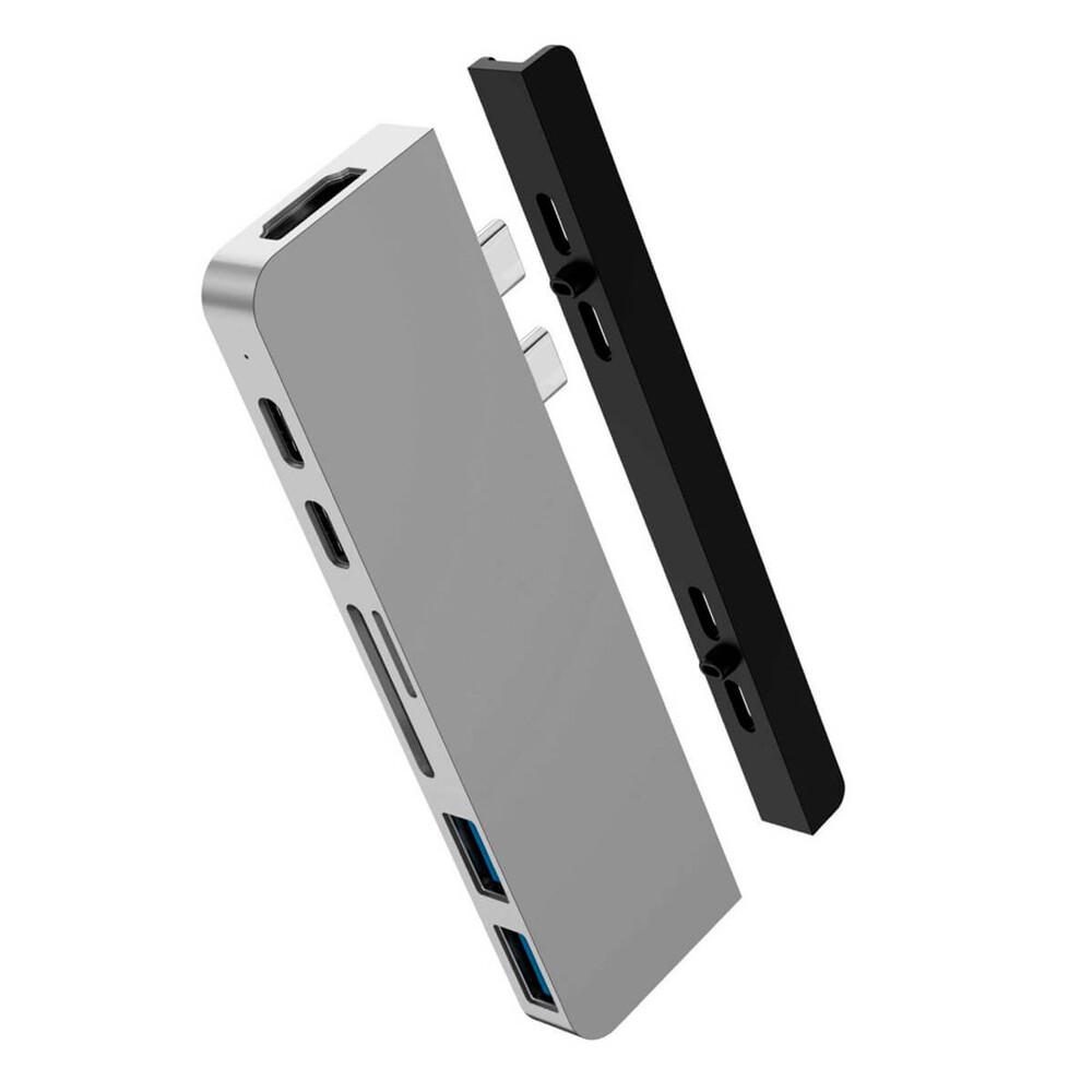Хаб (адаптер) HyperDrive DUO 7-in-2 Thunderbolt 3 USB-C Hub 4K60Hz HDMI для MacBook Pro | Air Silver