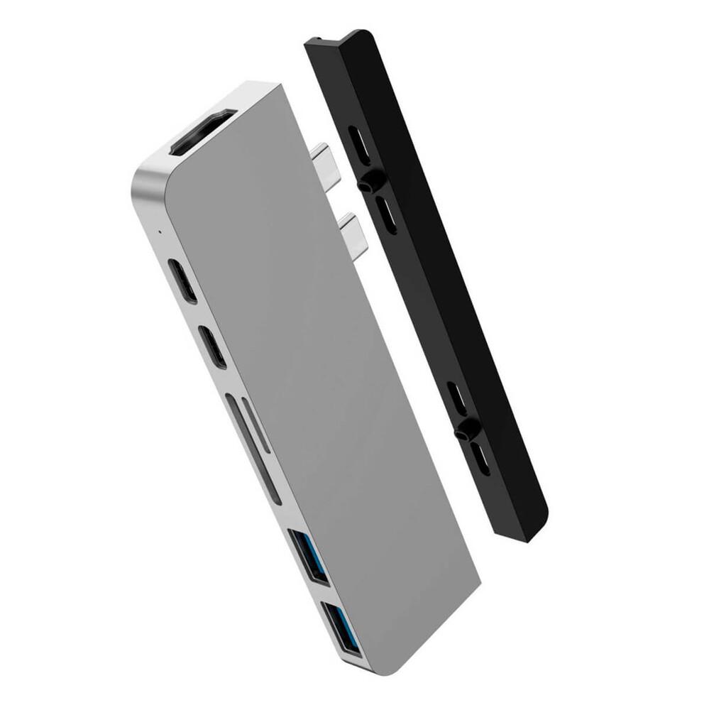 Купить Хаб (адаптер) HyperDrive DUO 7-in-2 Thunderbolt 3 USB-C Hub 4K60Hz HDMI для MacBook Pro | Air Silver