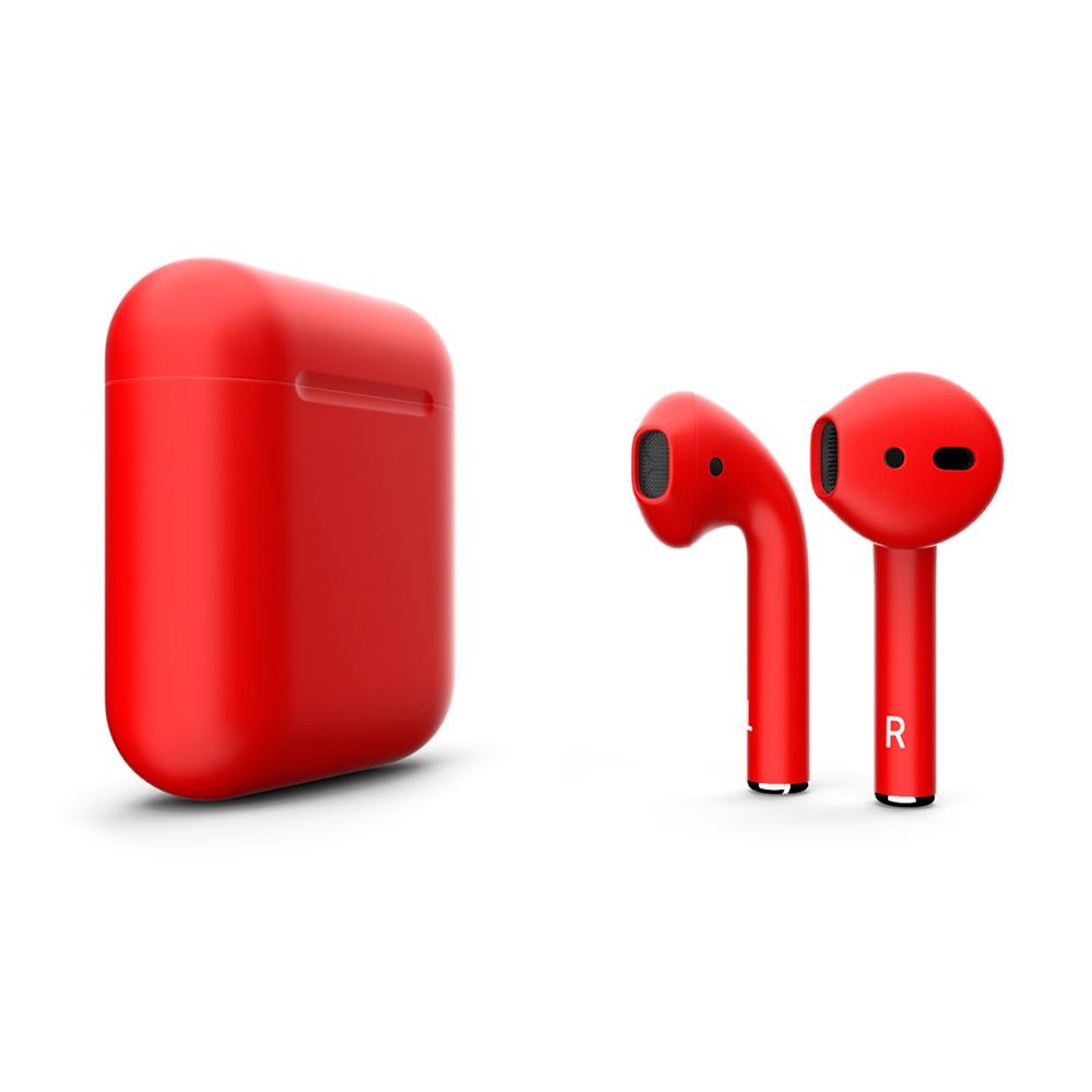 Купить Матовые беспроводные наушники Apple AirPods 2 с беспроводной зарядкой Aurora Red (MRXJ2)