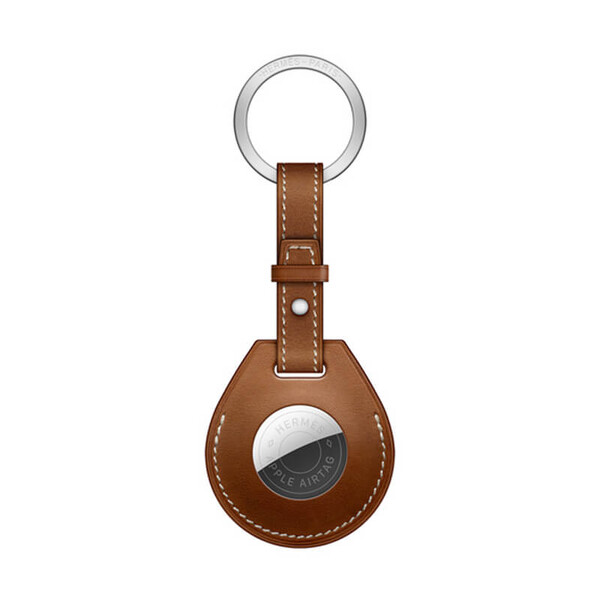 Брелок с кольцом Apple Hermès Key Ring Fauve (MX872) с AirTag