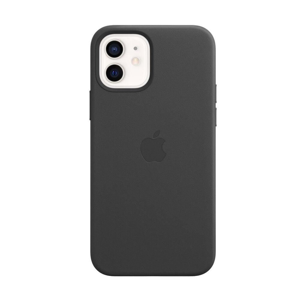 Купить Черный кожаный чехол Apple Leather Case with MagSafe Black (MHKG3) для iPhone 12 | 12 Pro