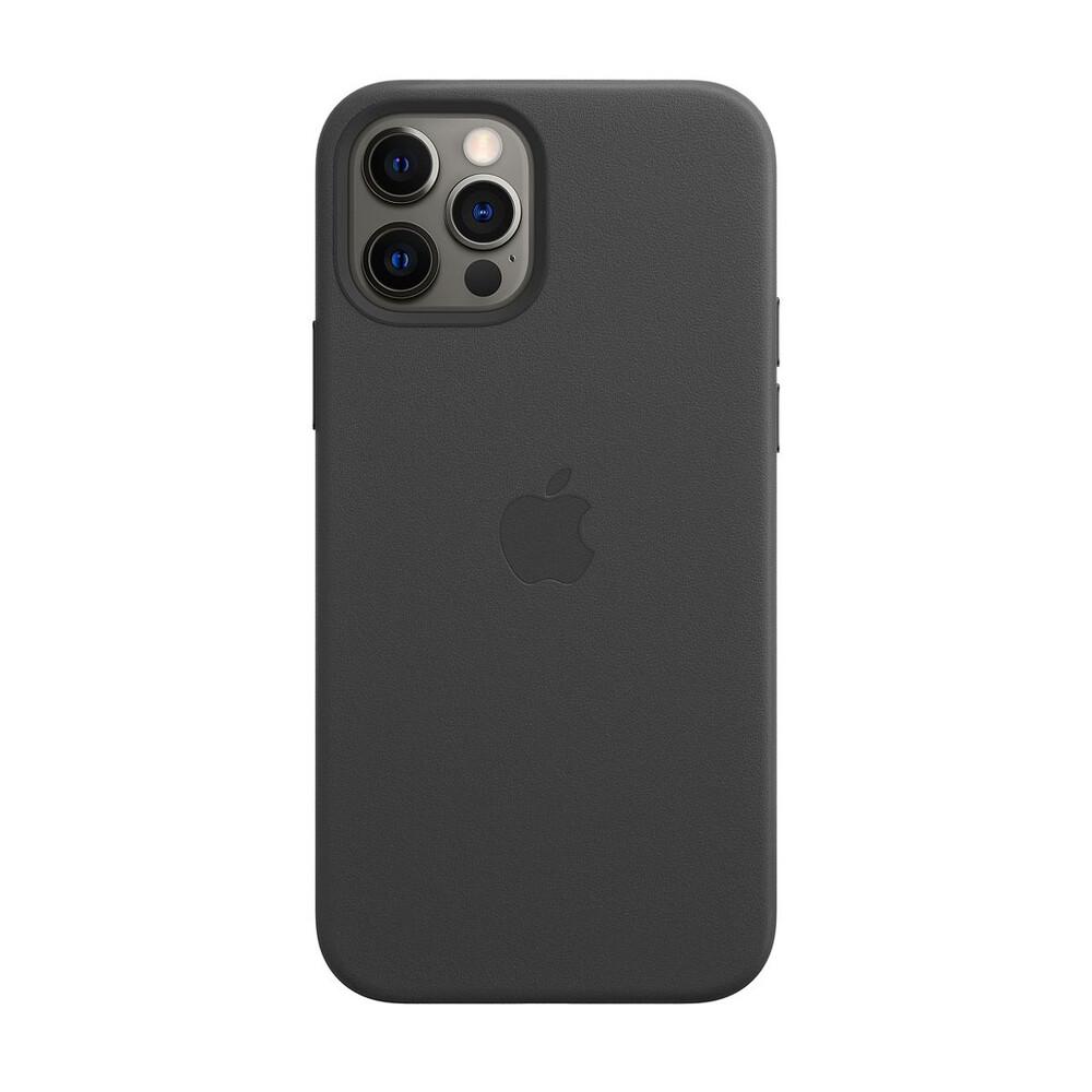 Купить Черный кожаный чехол Apple Leather Case with MagSafe Black (MHKM3) для iPhone 12 Pro Max
