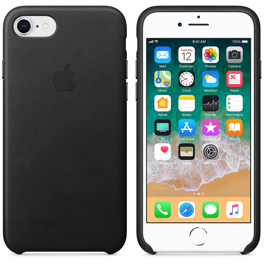iphone 8 leather case black