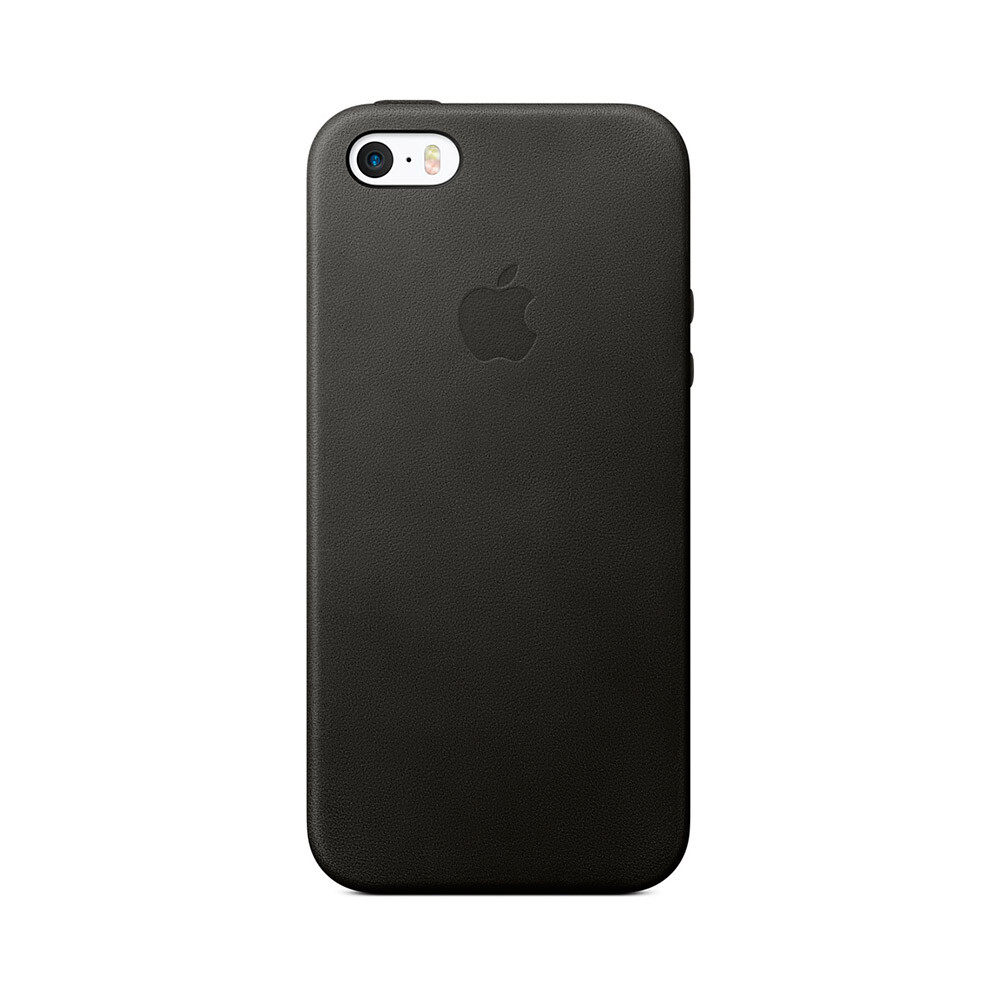 Кожаный чехол Apple Leather Case Black (MMHH2) для iPhone SE/5S/5