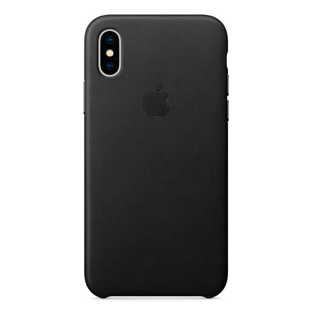 Черный кожаный чехол Apple Leather Case Black (MQTD2) для iPhone X   XS