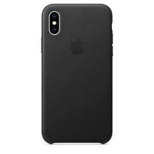 Купить Кожаный чехол Apple Leather Case Black (MRWM2) для iPhone XS