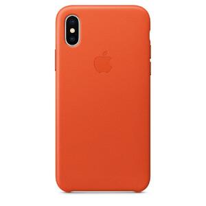 Купить Кожаный чехол Apple Leather Case Bright Orange (MRGK2) для iPhone X/XS