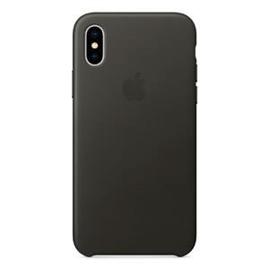 Купить Кожаный чехол Apple Leather Case Charcoal Gray (MQTF2) для iPhone X
