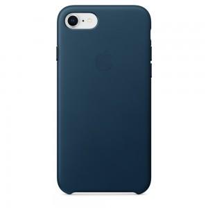 Купить Кожаный чехол Apple Leather Case Cosmos Blue (MQHF2) для iPhone 8/7