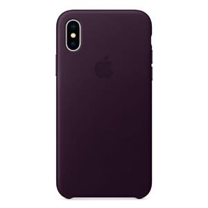 Купить Кожаный чехол Apple Leather Case Dark Aubergine (MQTG2) для iPhone X