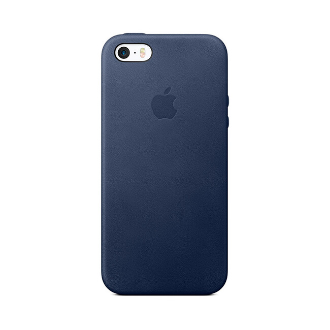 Кожаный чехол Apple Leather Case Midnight Blue (MMHG2) для iPhone SE/5S/5