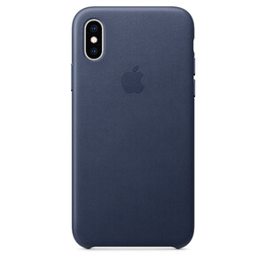 Купить Кожаный чехол Apple Leather Case Midnight Blue (MRWN2) для iPhone XS/X