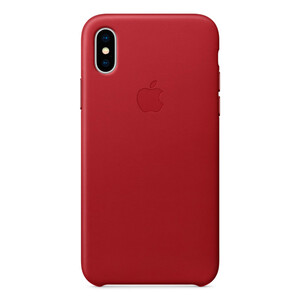 Купить Кожаный чехол Apple Leather Case (PRODUCT) RED (MQTE2) для iPhone X/XS