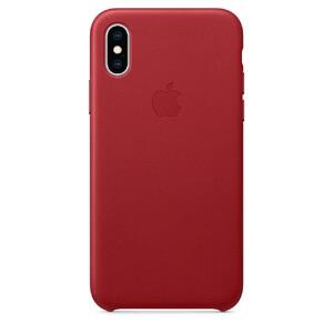 Купить Кожаный чехол Apple Leather Case (PRODUCT) RED (MRWK2) для iPhone XS/X