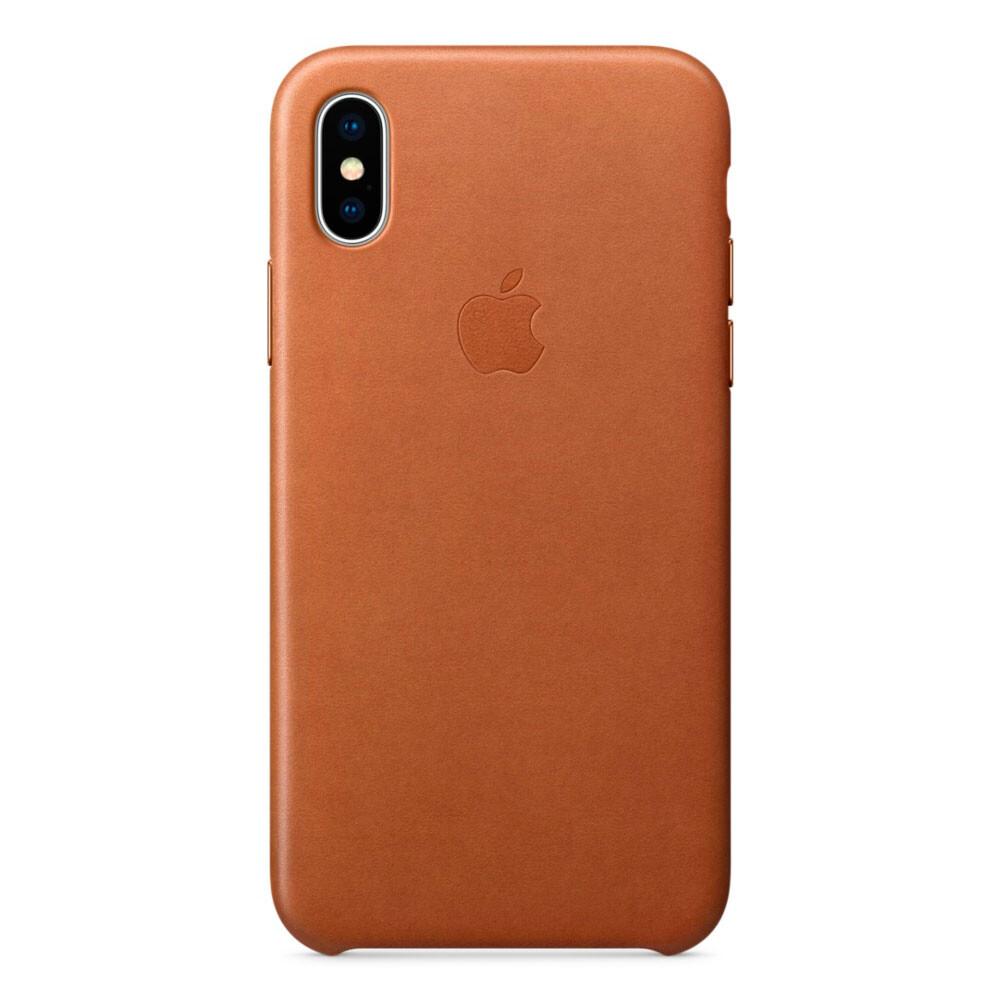 Кожаный чехол Apple Leather Case Saddle Brown (MQTA2) для iPhone X (Витринный образец)