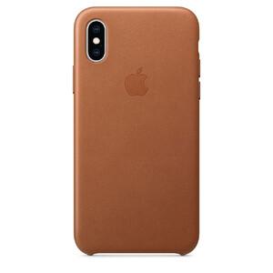 Купить Кожаный чехол Apple Leather Case Saddle Brown (MRWP2) для iPhone XS/X