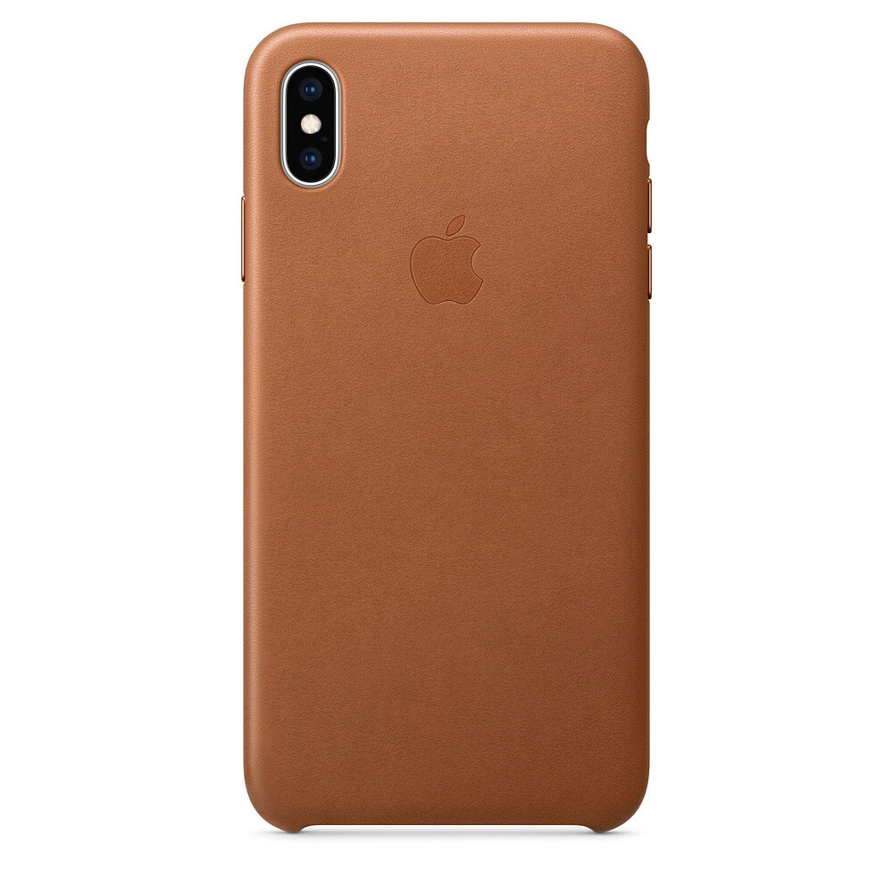 Кожаный чехол Apple Leather Case Saddle Brown (MRWV2) для iPhone XS Max