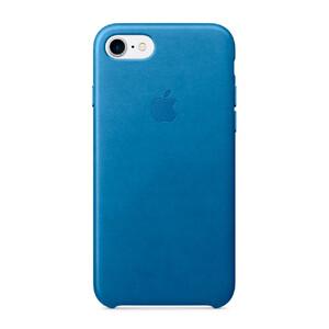 Купить Кожаный чехол Apple Leather Case Sea Blue (MMY42) для iPhone 7
