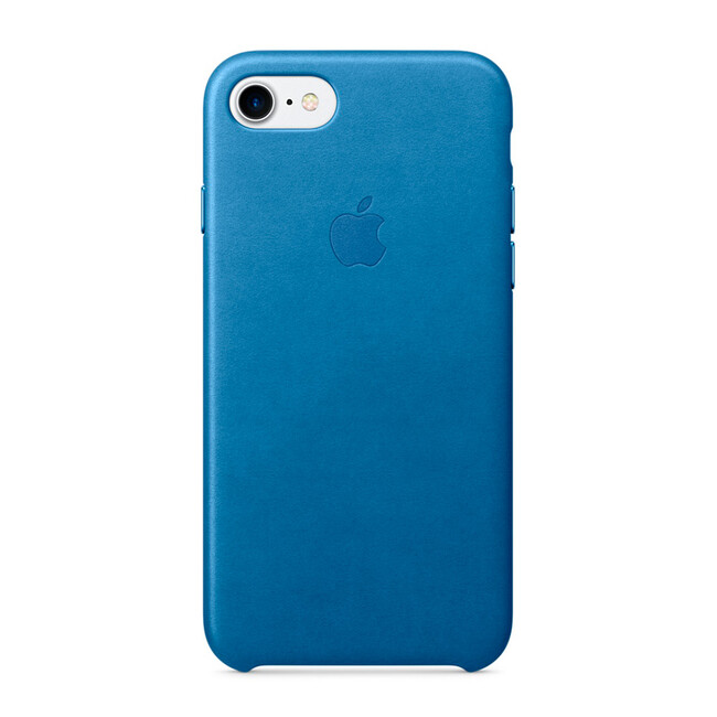 Кожаный чехол Apple Leather Case Sea Blue (MMY42) для iPhone 7