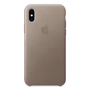 Купить Кожаный чехол Apple Leather Case Taupe (MQT92) для iPhone X