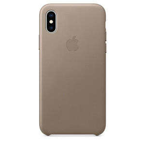 Купить Кожаный чехол Apple Leather Case Taupe (MRWL2) для iPhone XS/X