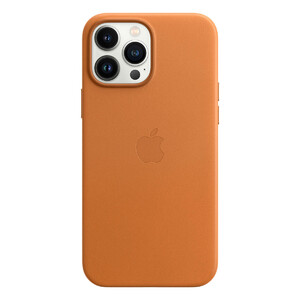 Кожаный чехол Apple Leather Case with MagSafe Golden Brown (MM1L3) для iPhone 13 Pro Max