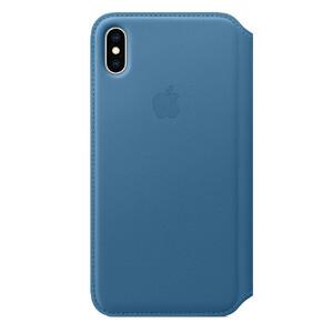Купить Кожаный чехол-книжка Apple Leather Folio Cape Cod Blue (MRX52) для iPhone XS Max
