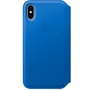 Купить Кожаный чехол-книжка Apple Leather Folio Electric Blue (MRGE2) для iPhone X