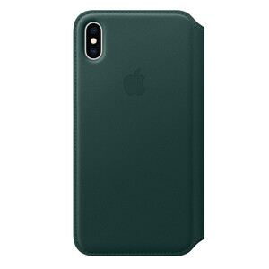 Купить Кожаный чехол-книжка Apple Leather Folio Forest Green (MRX42) для iPhone XS Max