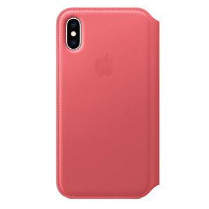 Купить Кожаный чехол-книжка Apple Leather Folio Peony Pink (MRX12) для iPhone XS/X
