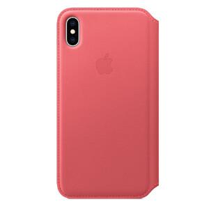 Купить Кожаный чехол-книжка Apple Leather Folio Peony Pink (MRX62) для iPhone XS Max