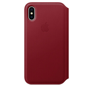 Купить Кожаный чехол-книжка Apple Leather Folio (PRODUCT) RED (MRQD2) для iPhone X/XS