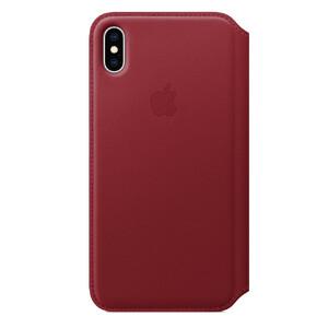 Купить Кожаный чехол-книжка Apple Leather Folio (PRODUCT) RED (MRX32) для iPhone XS Max