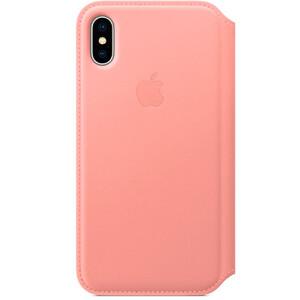 Купить Кожаный чехол-книжка Apple Leather Folio Soft Pink (MRGF2) для iPhone X