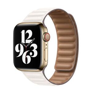 Купить Кожаный ремешок Apple Leather Link Chalk (MJKR3) для Apple Watch 44mm (S | M) Series SE | 6 | 5 | 4 | 3 | 2 | 1