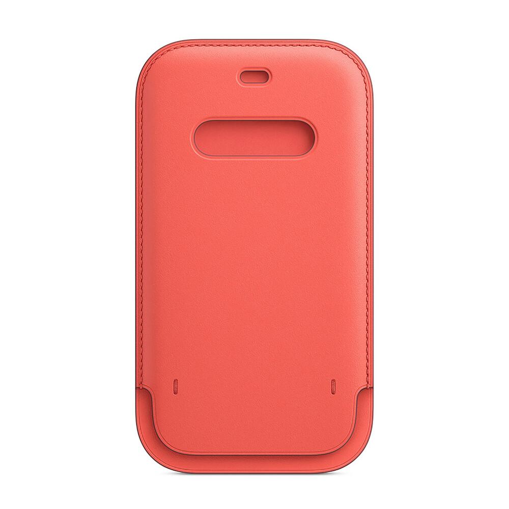 Купить Кожаный чехол-бумажник Apple Leather Sleeve with MagSafe Pink Citrus (MHYA3) для iPhone 12 | 12 Pro